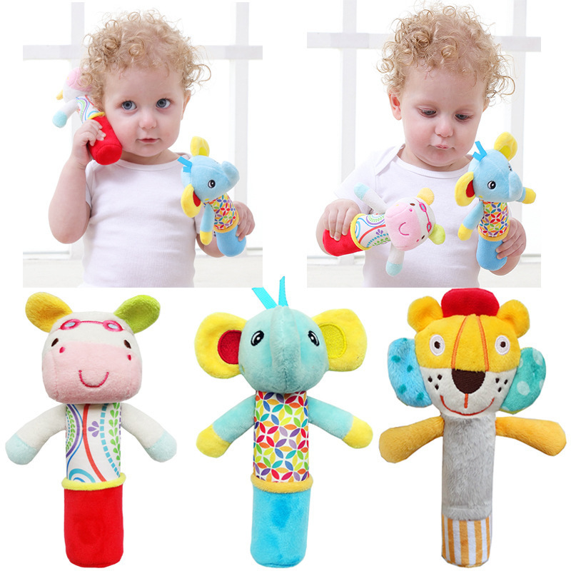 Ring The Bell To Pacify The Hand Grasping Animals BB Stick Baby Doll Toys Newborn 0-1-3 Months Old