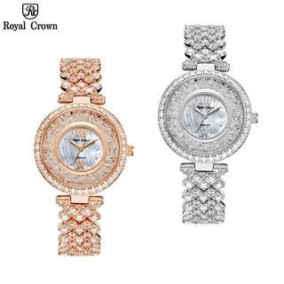 Đồng Hồ Nữ Chính Hãng Dây Kim Loại Đính Đá Royal Crown 2606 Jewelry Chống Nước Chống Xước thumbnail