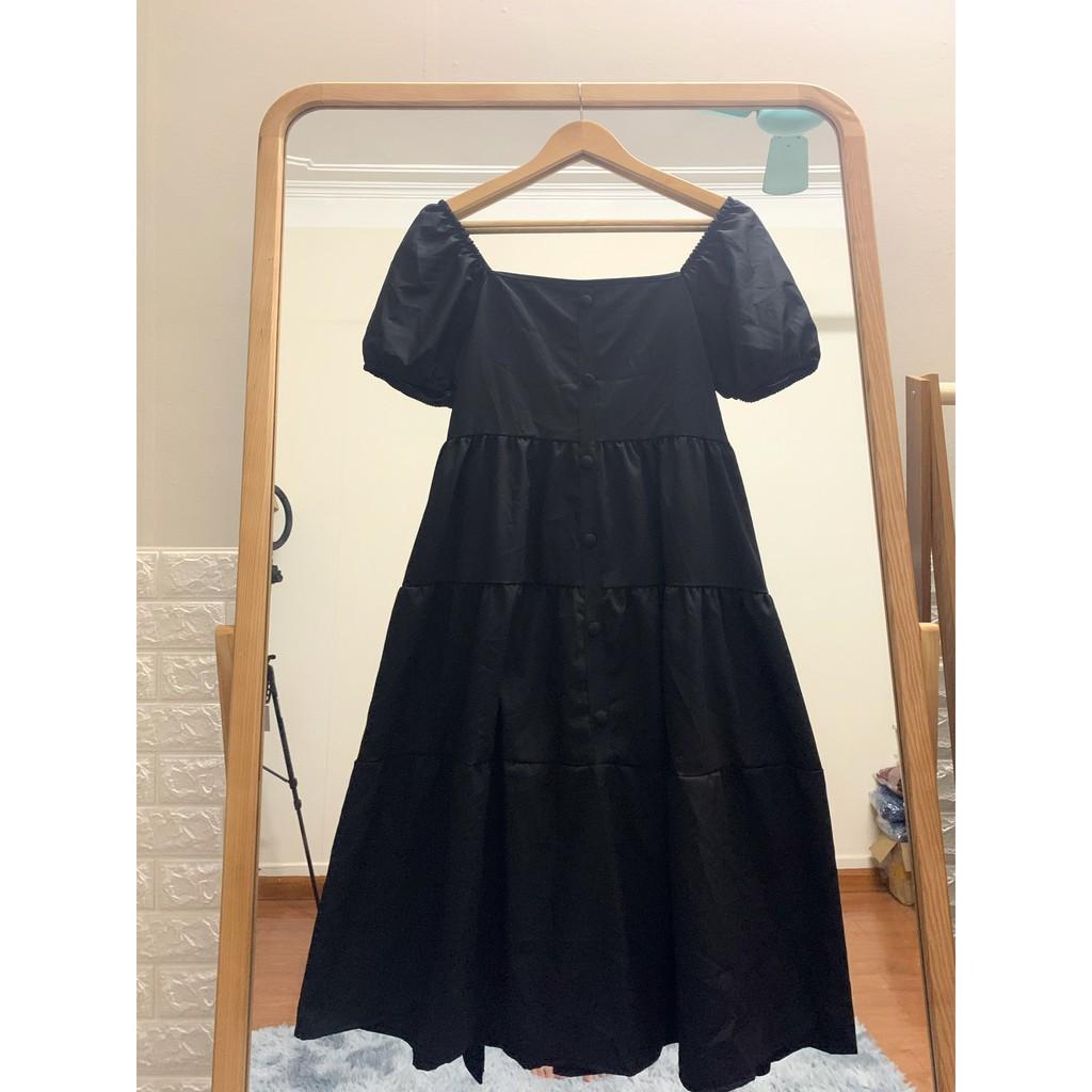 Mặc gì đẹp: Dễ chịu với Đầm bầu thời trang thiết kế cúc họa mi MB104 chất lụa mềm không nhăn freesize từ 45 đến 70kg