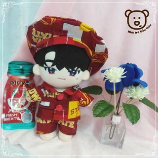 Outfit doll 20cm – Đỏ họa tiết (Có bán lẻ từng món)