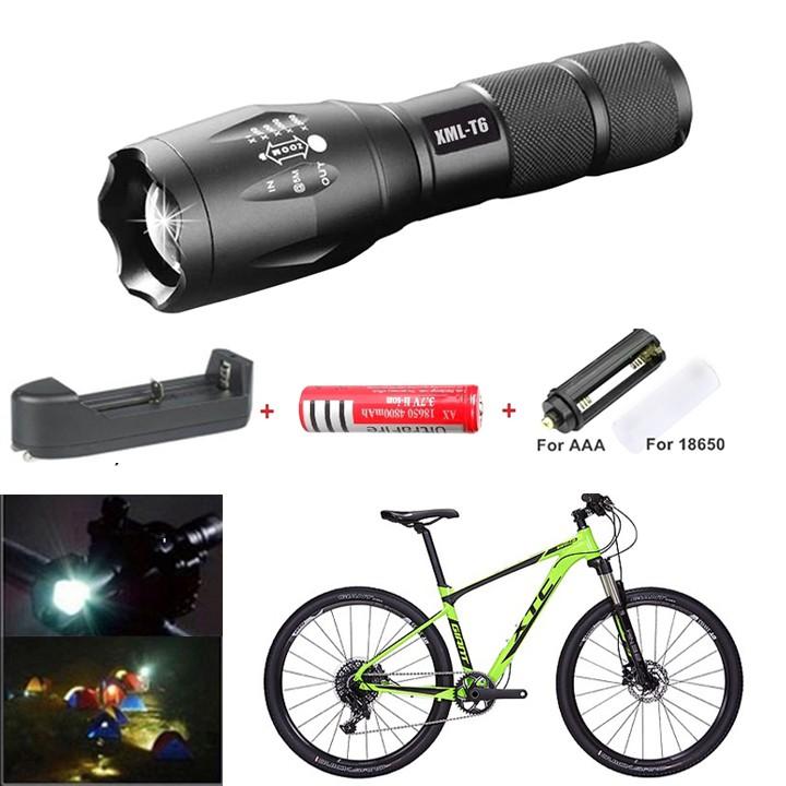 ĐEN PIN LED SIÊU SÁNG XML-T6 Chống Nước (Tặng Kèm Pin Ultra Và Sạc Đa Năng) gắn trên xe đạp