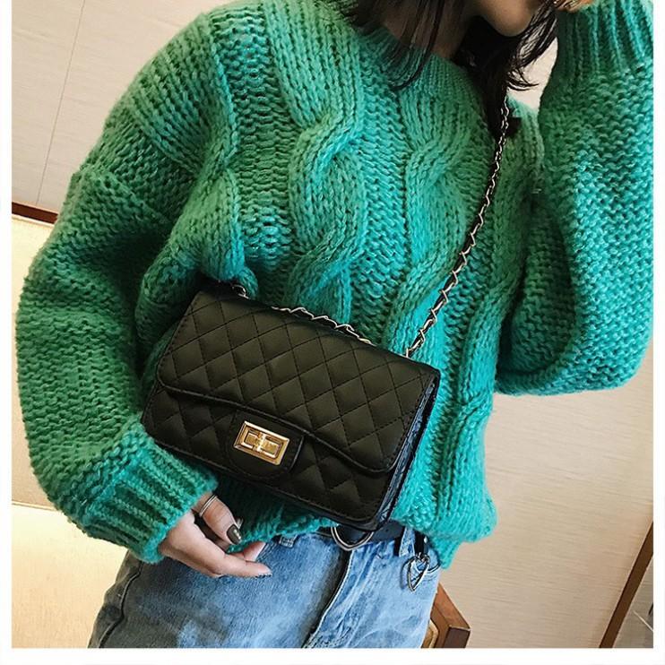 Túi xách nữ túi đeo chéo ô trám nắp xoay da PU cao cấp thời trang Hàn Quốc TX21  - Chip Xinh