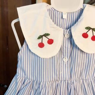 {ẢNH THẬT} Váy cherry cho bé, váy cộc tay cho bé,  váy kẻ bé gái thêu quả cherry