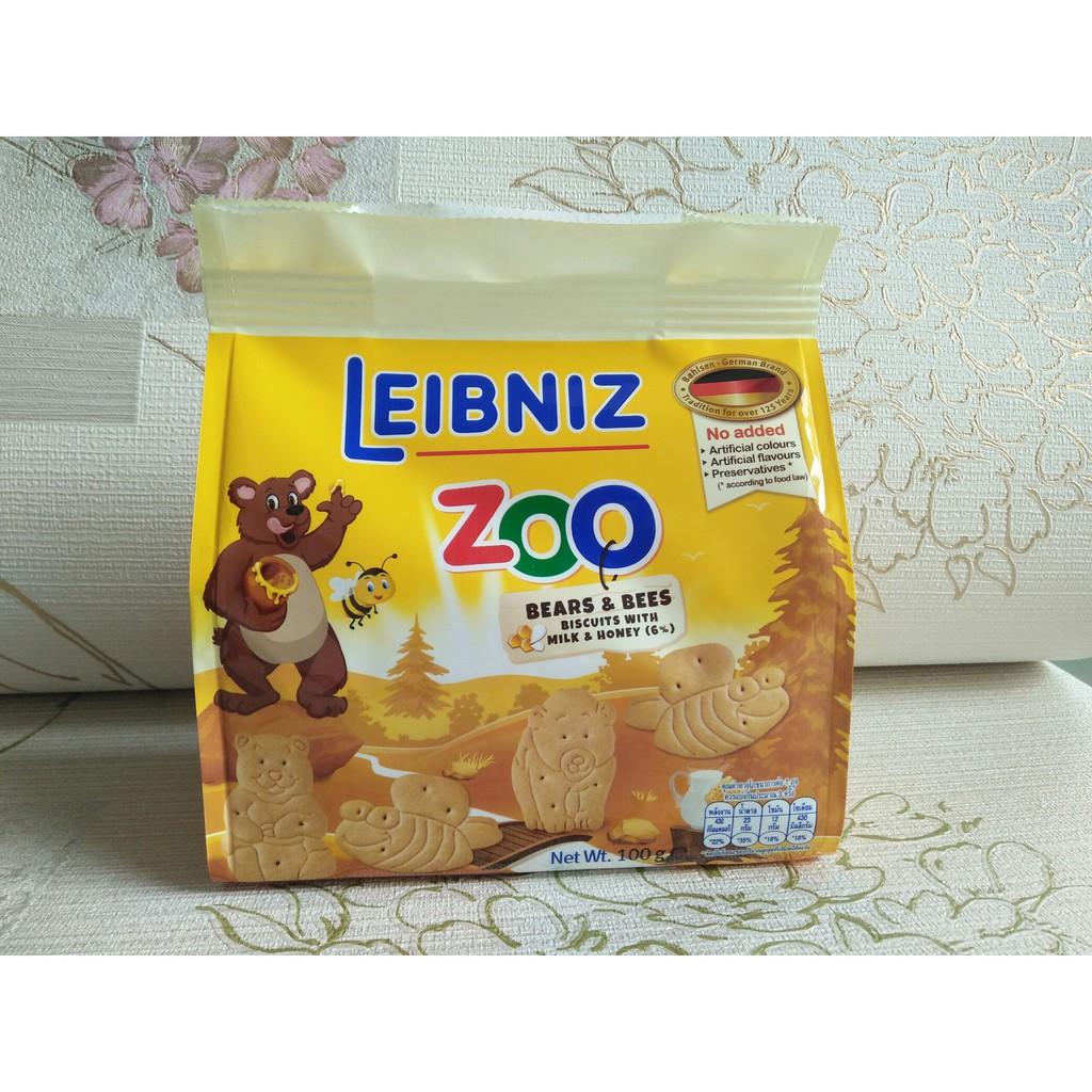 Bánh quy sữa và mật ong hình GẤU và Ong Bahlsen Zoo 100g - Date T11/2019