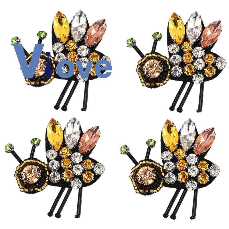 4Pcs Rhinestones Bee Beaded Patches Premium Sewing