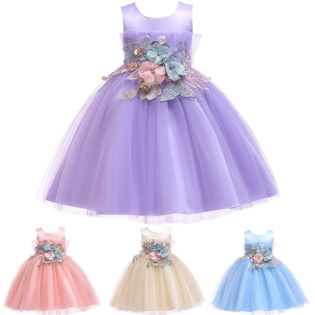 Toddler Kids Girls Princess Bridesmaid Pageant Gown Birthday Party Wedding Dress