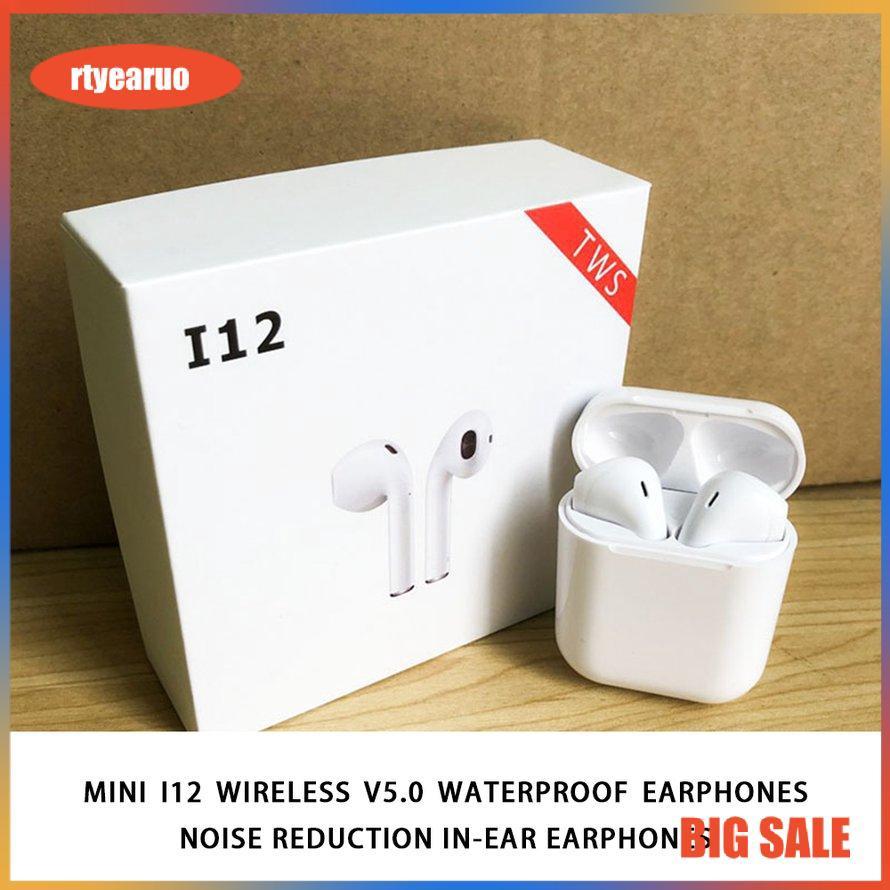Tai nghe nhét tai không dây bluetooth V5.0 I12 TWS mini chống thấm nước và chống tiếng ồn