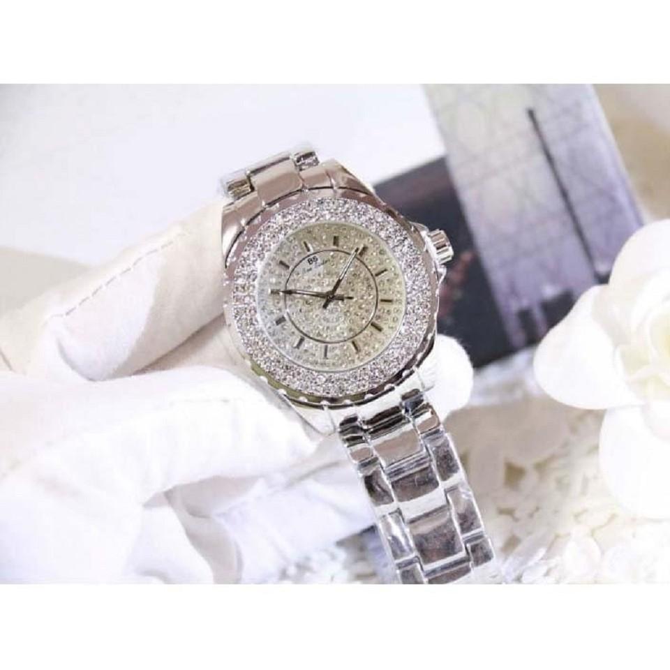 Đồng hồ thời trang nữ Bee Sister FA0280B- dây thép bạc - Viền đính đá xoay 360 độ
