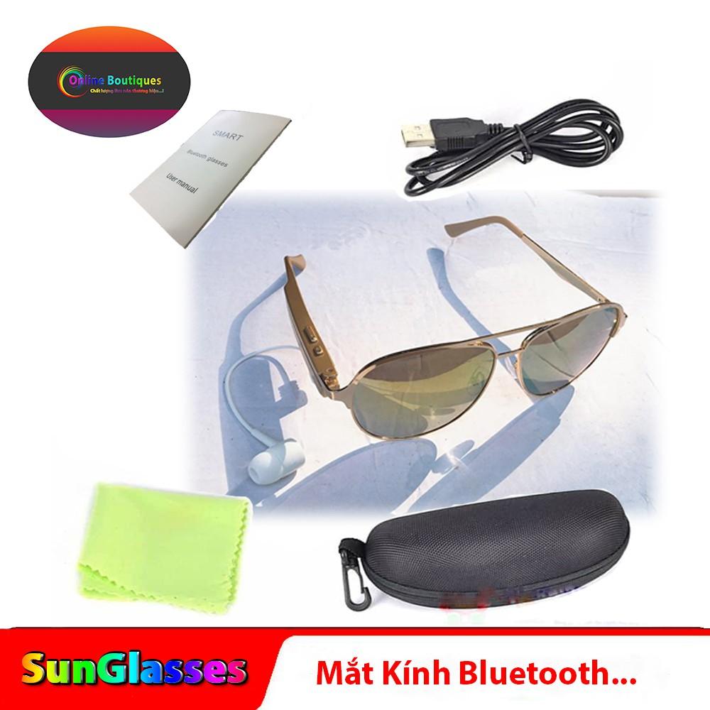 Mắt kính thời trang A9(Gọng Vàng)Tráng Gương - kết nối tai nghe bluetooth 4.1+EDR - nghe nhạc - đàm thoại ->SunGlasses