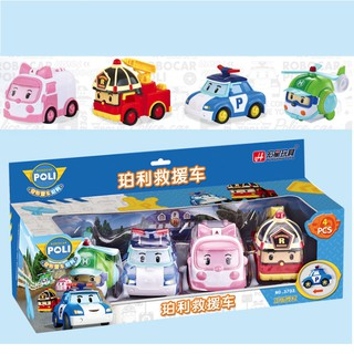 Bộ 4 xe ô tô mô hình nhân vật Robocar Poli chạy đà đồ chơi trẻ em