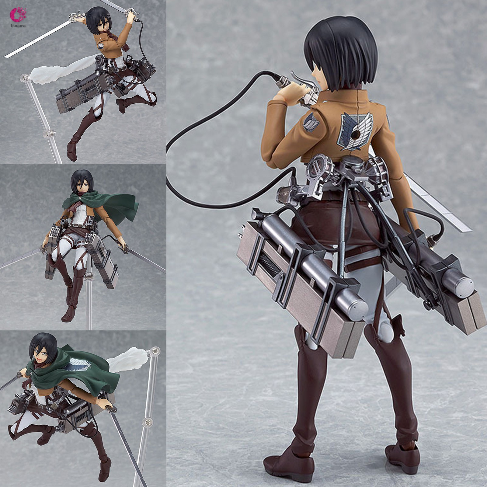 Attack on Titan Mikasa Ackerman PVC Figure Changeable Face Anime Action Figure Model Toy