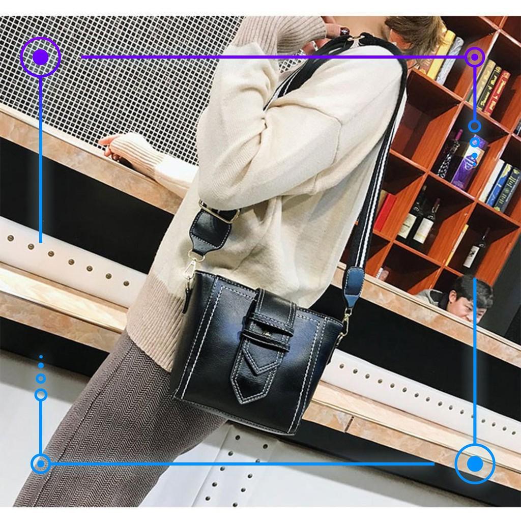 Nhanh Nào Túi đeo chéo nữ hàn quốc vintage giá rẻ dây đeo bản to,vừa điện thoại với 2 ngăn lớn