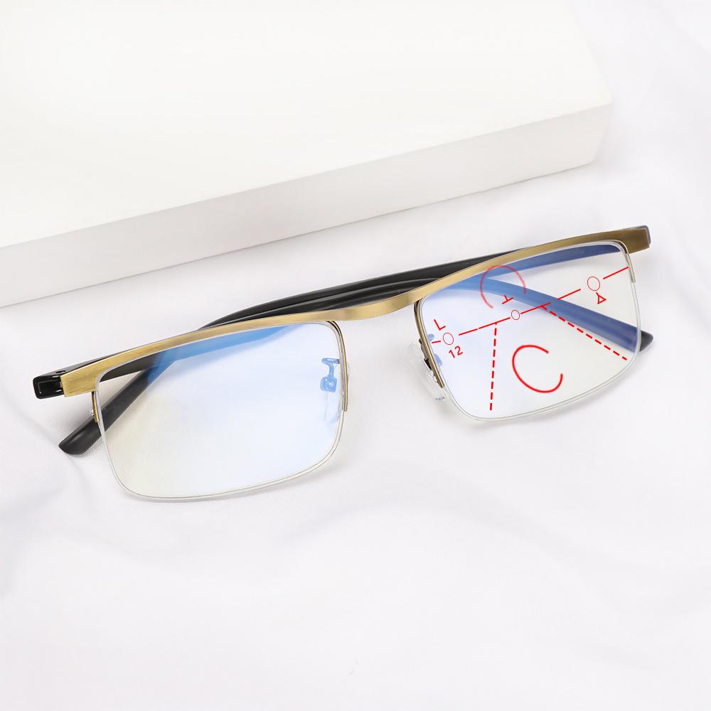 WATTLE Anti-fatigue Anti Blue Light Reading Glasses Radiation Protection Multifocal Bifocal Eyewear Progressive Presbyopic Eyeglasses Anti-UV Men Women Fashion Anti-blue...