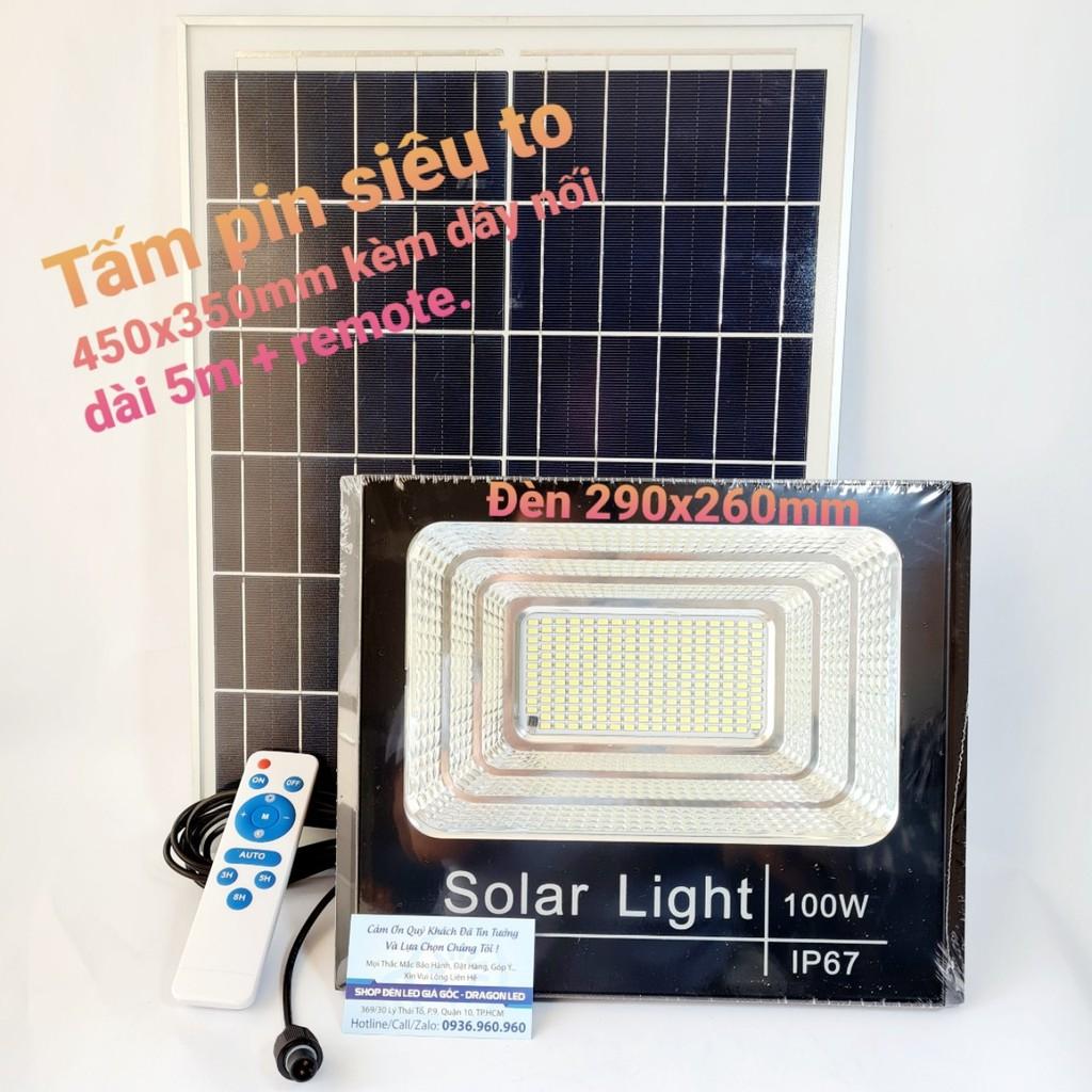 Đèn pha năng lượng mặt trời 100w IP67 sáng mạnh, pin lâu - Tấm pin rời dây nối 5m và kèm remote điều khiển