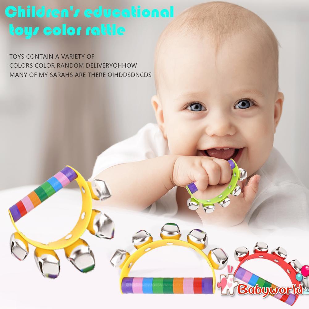 Children Cartoon Toys Handbells Fun Early Education Rattles Color Random