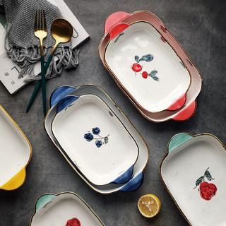 Bát sứ, thố nướng chữ nhật có quai cầm họa tiết hoa quả cực xinh- 2 dung tích