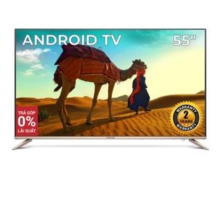 Android SMART TV 4K UHD Coocaa 55 inch Wifi – viền mỏng – Model 55S5G (Vàng) – Chân viền kim loại: