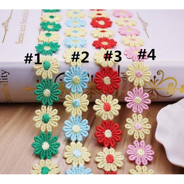 1yd Double Color Flower Lace Edge Trim Wedding Ribbon Applique Sewing Craft