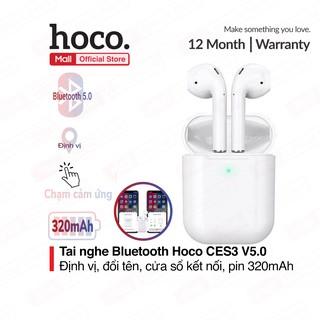 Tai nghe Bluetooth TWS Hoco CES3 V5.0, định vị, đổi tên, chạm cảm ứng, cửa sổ kết nối, pin 320mAh ( trắng )