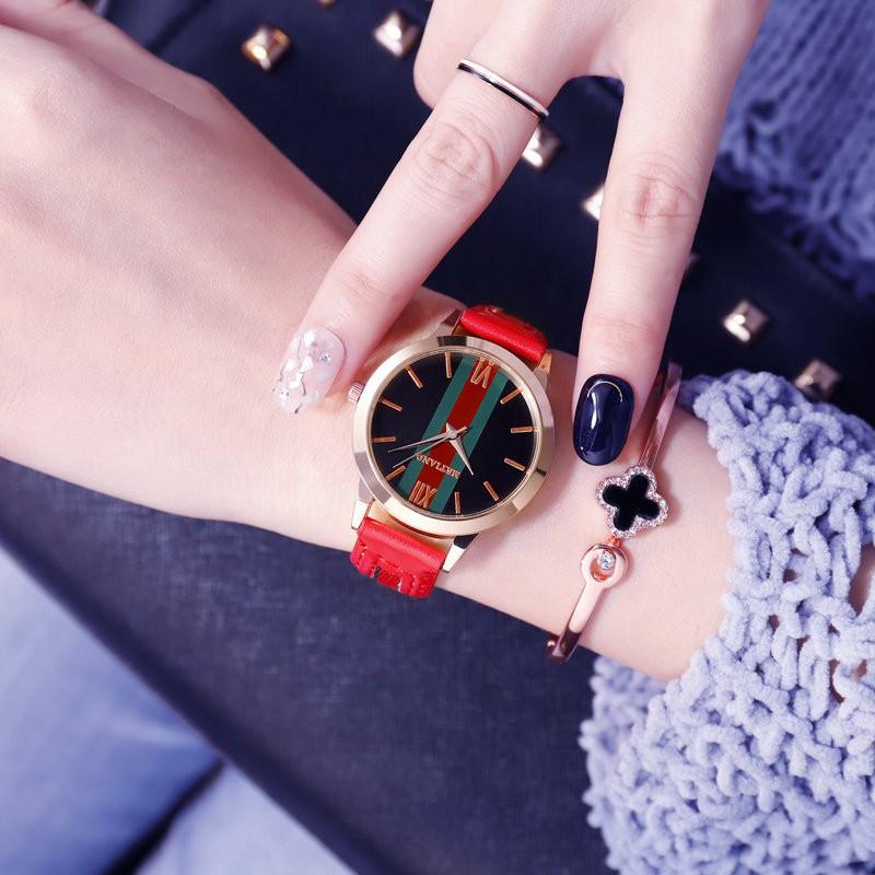 Đồng Hồ nữ thời trang MSTIANQ Mặt kim sa Thời Trang phong cách hàn quốc dây da lộn cao