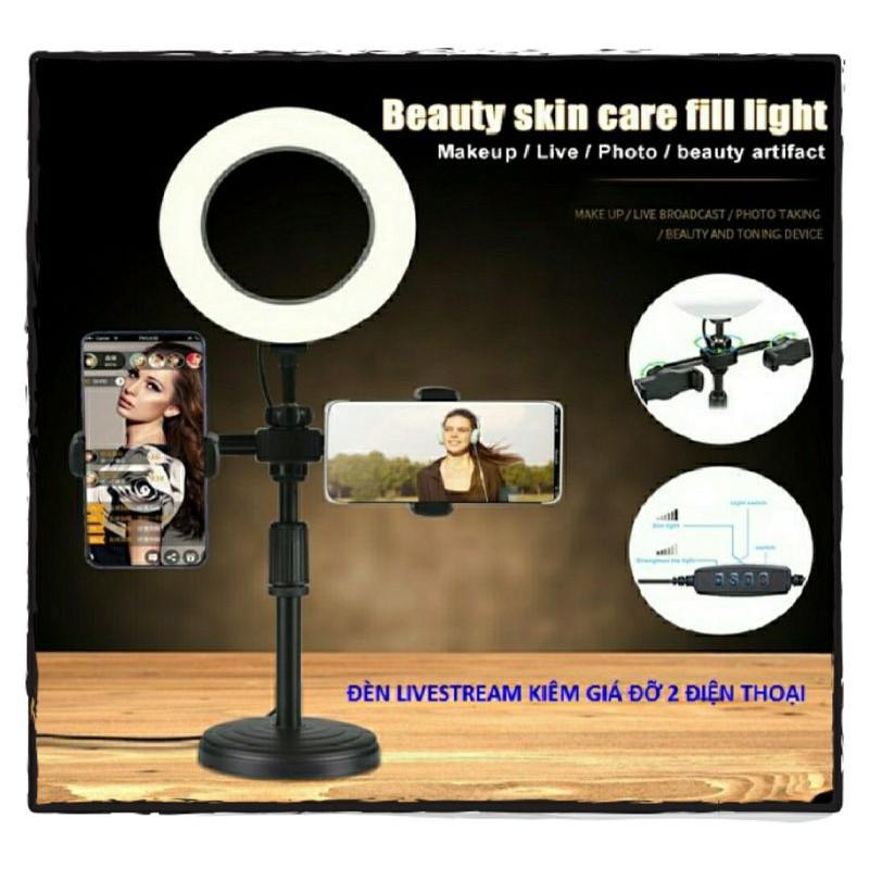 Giá Đỡ 2 Điện Thoại, Kiêm Đèn Led 3 Màu Livestream, Kẹp Điện Thoại Để Bàn - Ảnh Thật