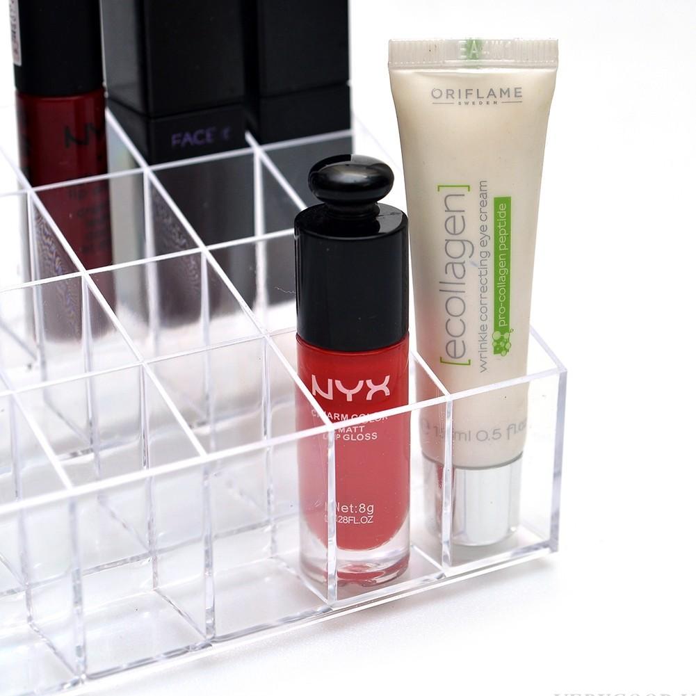 Khay đựng son đựng đồ trang điểm nhựa cứng trong suốt sạch sẽ dễ tìm 24 ô diệu shop