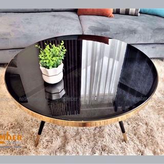 Bàn sofa - bàn trà kính cường lực chân inox mạ chrome cho phòng khách - nội thất AMBER