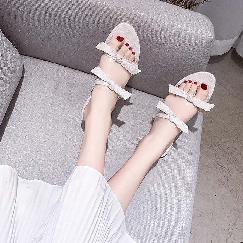 ✲Net red cool slippers women wear 2019 new summer shoes ultra-fire fashion flat-bottomed hundred sidos tide drag