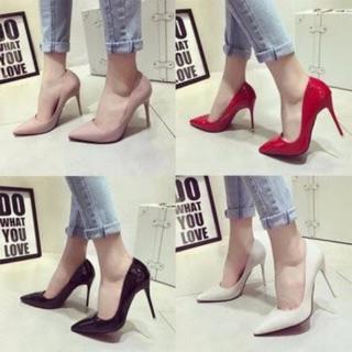 Giày cao gót da bóng mũi nhọn gót nhọn 7-10p siêu chảnh đế chắc chắn đi cực thích thumbnail