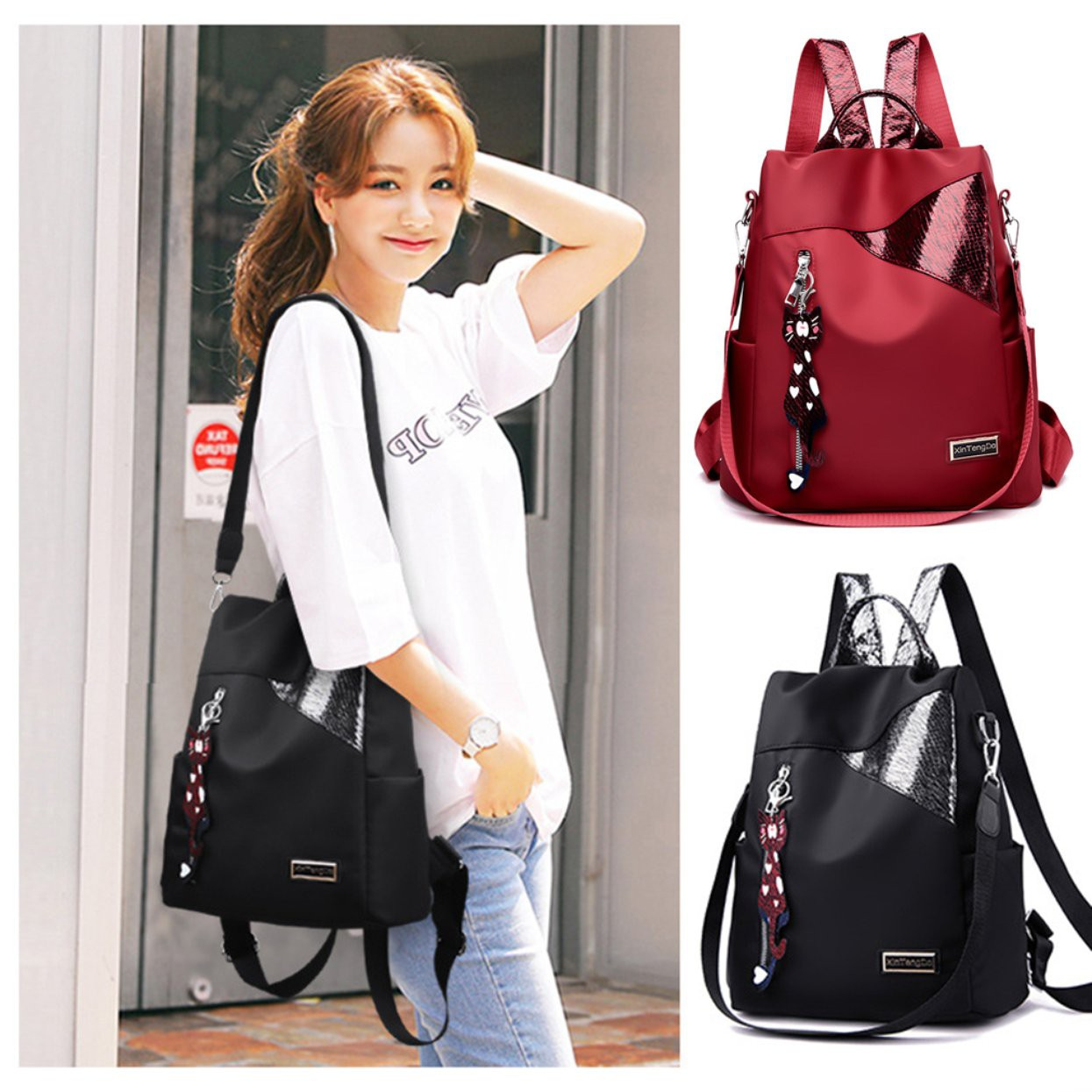 &SLS& Leisure outdoor backpack Female Oxford cloth Solid color Simple style large capacity bag