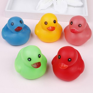 SUN55❤❤5Pcs/pack cute 7*6cm colorful rubber float squeaky sound duck baby bath t