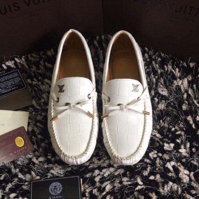 giày mọi da mềm trắng, LV chuông nam hót