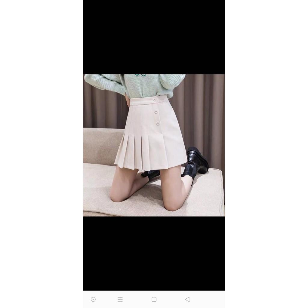 Chân váy chữ A kết hợp xếp ly UIzzang phong cách Hàn mẫu mới nhất 2021 ms03