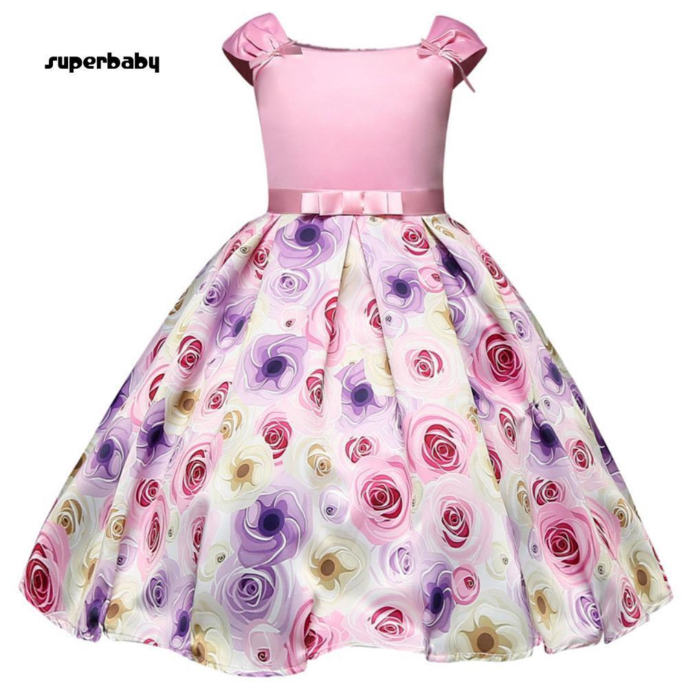 SBaby-Fashion Flower Pattern Bowknot Sleeveless Spring Summer Kids Girl Party Dress