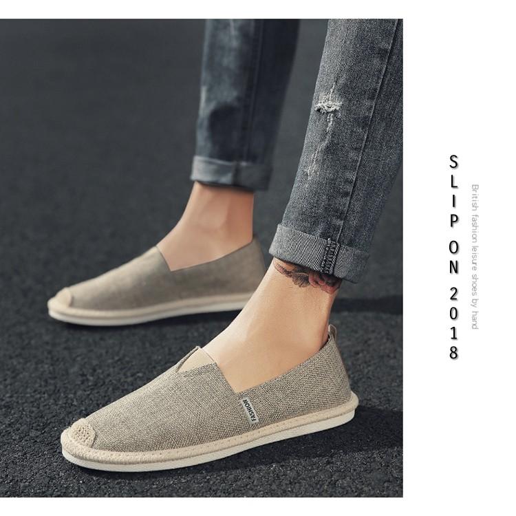 Slip on nam - Giày lười vải nam cao cấp - Vải bố màu rêu xám, mũi cói - Mã SP 2905 (có size 44)