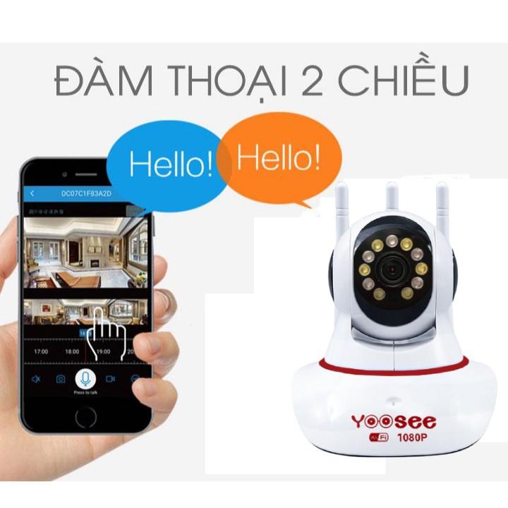 Camera Wifi Yoosee 3 râu 11 led Xem đêm có màu - 2.0 MPX - FullHD ,  , cảm biến AI thông minh , đàm thoại 2 chiều