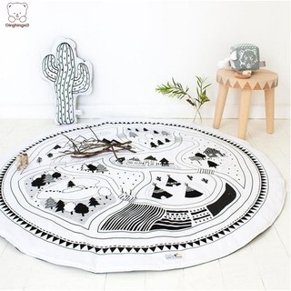 Round Baby Play Mat Soft Padded Crawling Blanket Car Track Puzzle Rug