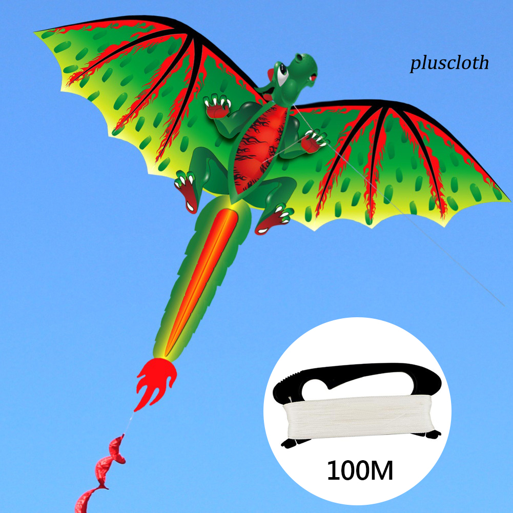 Plu_Kids Cute 3D Dinosaur Kite Flying Game Outdoor Sport Playing Toy with 100m Line