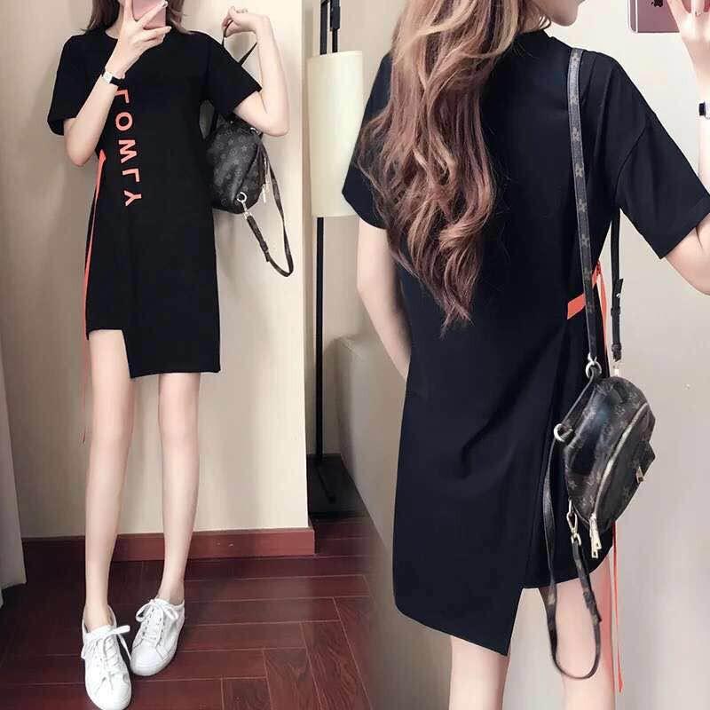 Đầm Nữ Dài Tay Cổ Tròn Dáng Suông Thời Trang Hàn 2018