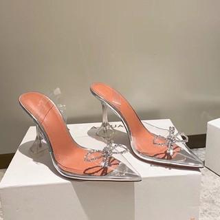 SALE 250k giá cũ 400k  Sandal quai trong cao gót trong nơ pha lê cao cấp cao 7cm Hàng loại 1 fullbox