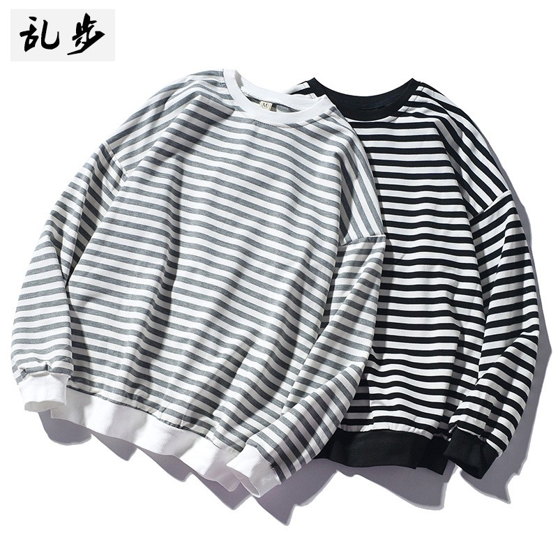 Korean t-shirts long-sleeved horizontal stripes