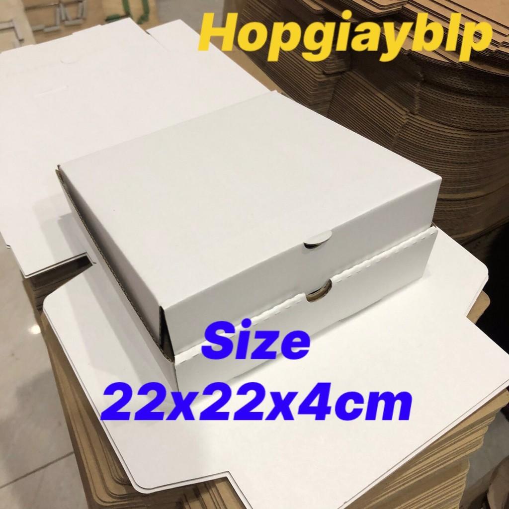 Hộp CARTON đựng bánh pizza size 22x22x4cm NHIỀU MÀU