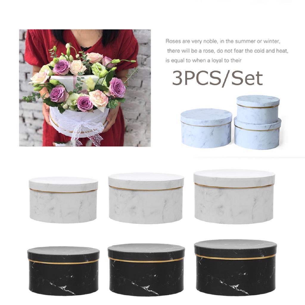 3Pcs Florist Hat Boxes Mini Artificial Dried Flower Bouquet Plant Box Gift Round