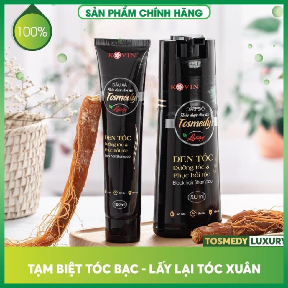 [HÀNG ĐỘC QUYỀN] Dầu gội thảo dược đen tóc TOSMEDY - Công ty CP Dược TW Mediplantex - Đen tóc chỉ sau 01 lần gội.