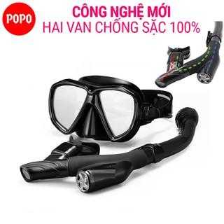 Bộ kính lặn ống thở POPO TUO với 2 van ngăn nước 100%, mắt kính cường lực
