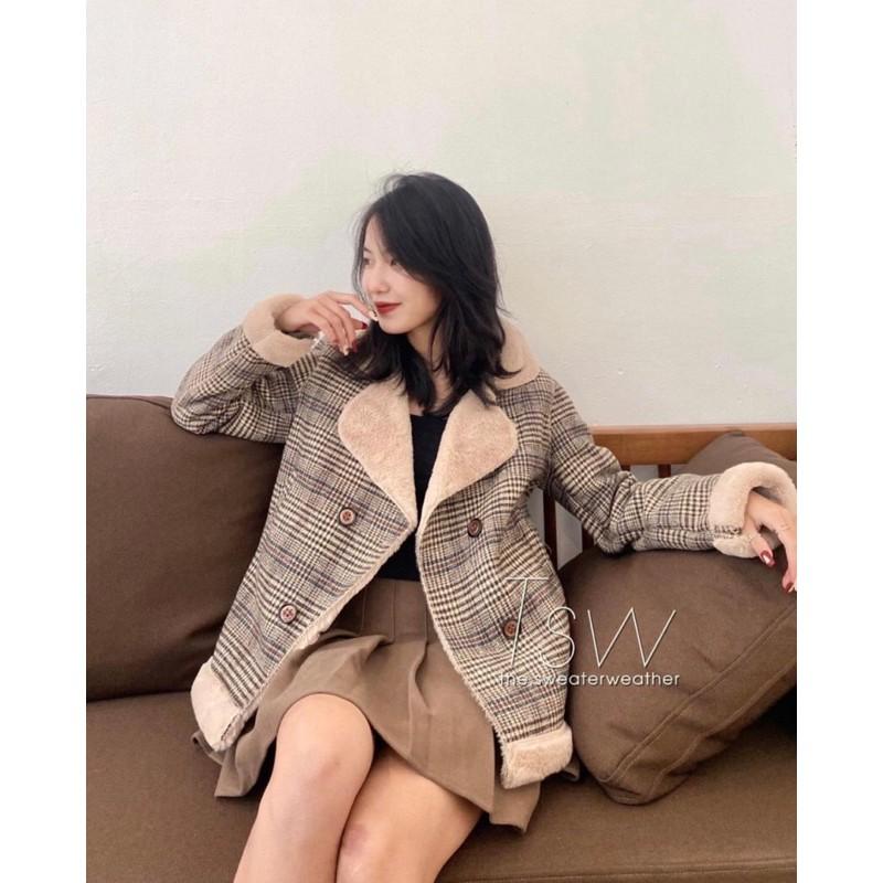 [Mã WAJAN27 hoàn 15% xu đơn 300k] áo khoác dạ kẻ caro lót lông siêu dày ấm