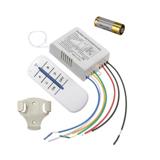 Công tắc điều khiển từ xa sóng radio RF 4 cổng (4 kênh ,4 đèn) xuyên tường