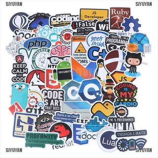 SIYUYAN 50Pcs Internet Java Stickers Programmer DIY Suitcase Laptop Guitar Car Decals [319FA]