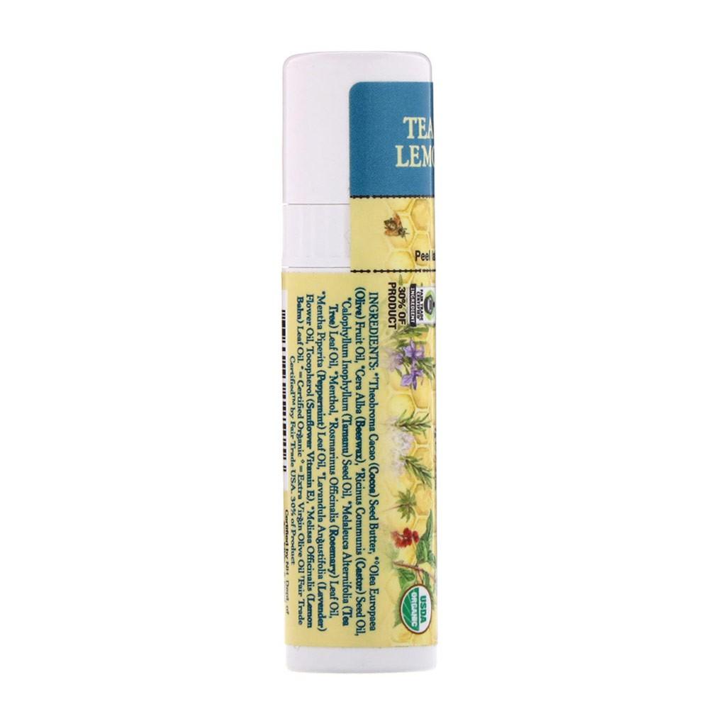 Son Dưỡng Hữu Cơ BADGER Tea Tree and Lemon Balm Herbal Lip Care USDA Organic - 4.2g