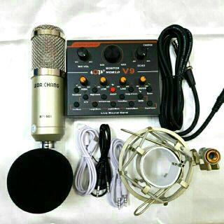 Combo bộ livestream hát karaoke mic BM900 và sound card V9 Bản tiếng Anh
